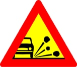 Loose stones - road sign